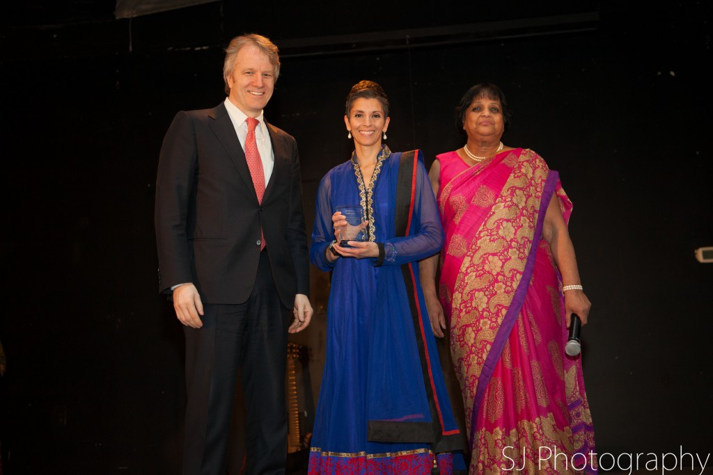 Award Recipient: Angie Seth with supporter Gerald Kennedy and Executive Director of SAWC Kripa Sekhar